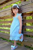 Kids Frozen Aqua Chevron Dress with Lace Straps
