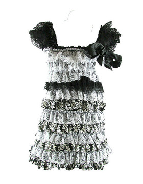 Black & White Damask Lace Petti Dress