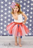 Red White Blue Shredded Tutu and Matching Headband