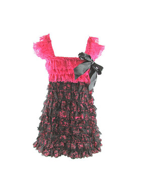 Hot Pink & Black Lace Petti Dress