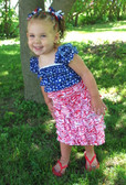 Red Zebra, Navy Blue with White Stars Lace Dress
