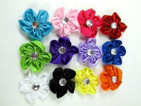 Satin Flowers with Felt Backs