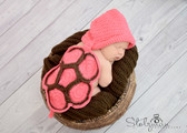 Baby Animal Hat Photo Prop Pink Turtle