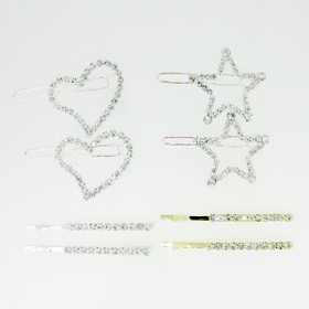 Silver Hearts Crystal Hair Clips