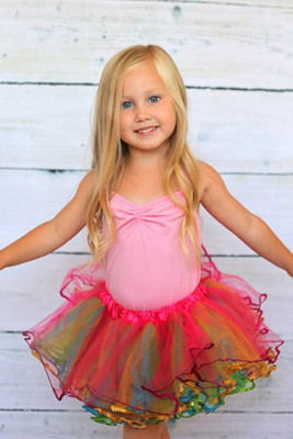 Rainbow Sequin Dance Tutu on a girl