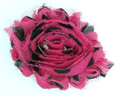 Hot Pink with Black Polka Dot Shabby Flowers