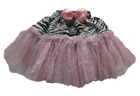 Zebra Light Pink Glitter Skirt