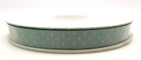 Hunter Green with Red Swiss Dot Grosgrain
