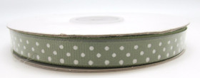 Moss with White Swiss Dot Grosgrain