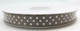Brown with White Swiss Dot Grosgrain