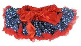 Patriotic Print Pettiskirt Navy White Stars Red Trim