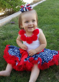 Pettiskirt Patriotic Print Navy White Stars Red Trim
