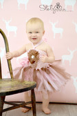 Pink Brown Baby Crochet Halter Top Tutu Dress