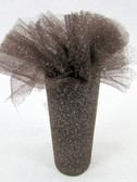 Brown Silver Glitter Tulle