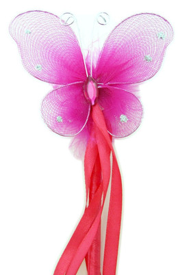 Dress up hot pink butterfly fairy wands for birthday for Butterfly wands wholesale