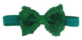 Green Rosette Bow on Fold Over Elastic Headband