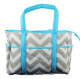 Gray & Aqua Chevron Diaper Bag