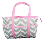 Gray & Pink Chevron Diaper Bag