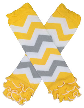 Gray & Yellow Chevron Leg Warmers