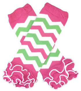 Hot Pink & Lime Green Chevron Leg Warmers