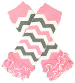 Light Pink & Gray Chevron Leg Warmers