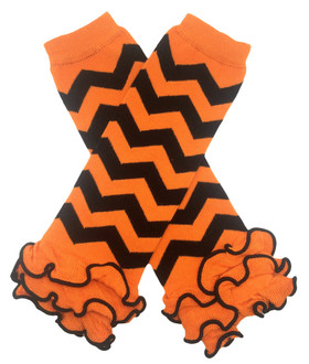 Orange & Black Chevron Leg Warmers