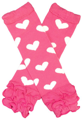 Hot Pink with White Hearts Leg Warmers