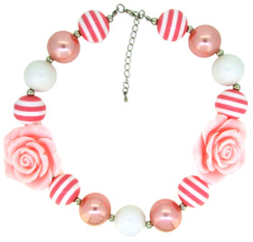 Pink Chunky Necklace with Rosettes