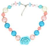 Aqua & Pink Chunky Necklace with Rosettes