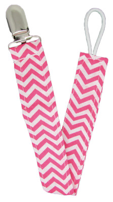 Hot Pink Chevron Pacifier Clip