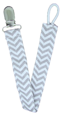 Gray Chevron Pacifier Clip