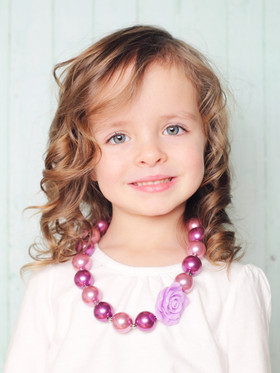 Purple Bubble Gum Chunky Necklace with Rosettes