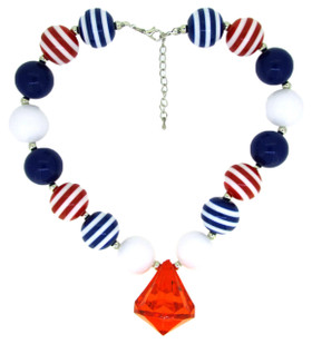 Red, White & Blue Chunky Necklace with Diamond