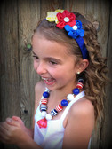 Red, White & Blue Chunky Patriotic Necklace with Diamond