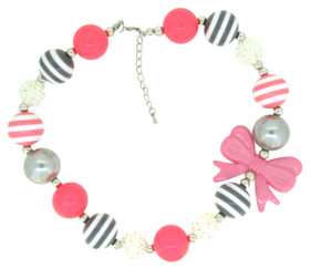 Pink & Gray Chunky Necklace with Bow