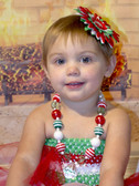 Chunky Necklace with Diamond Christmas Red, White, and Green