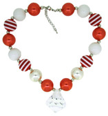 Red Chunky Necklace with Diamond