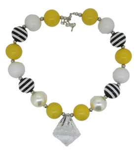 Black & Yellow Chunky Necklace with Diamond