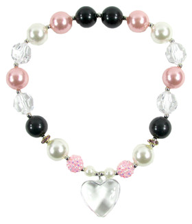 Pink & Black Chunky Necklace with Heart