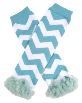 Chevron Leg Warmers with Chiffon Ruffles Aqua