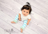 Frozen Aqua Chevron Leg Warmers with Chiffon Ruffles