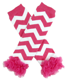 Hot Pink Chevron Leg Warmers with Chiffon Ruffles