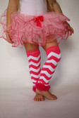 Chevron Legwarmers with Chiffon Ruffles Hot Pink