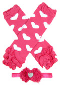 Hot Pink with White Hearts Leg Warmers with Headband