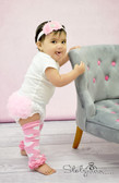 Light Pink Leg Warmers with White Hearts and Matching Headband