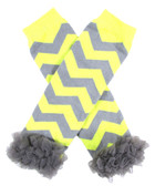 Yellow & Gray Chevron Leg Warmers with Chiffon Ruffles