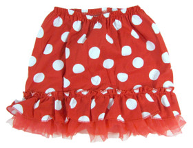 Red Cotton Skirt with White Dots and Chiffon Ruffle