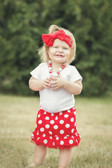 Red Cotton Skirt with White Dots and Chiffon Ruffle (skirt only, other items sold separately)