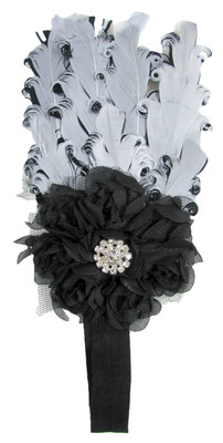 Black & Gray Feather Headband