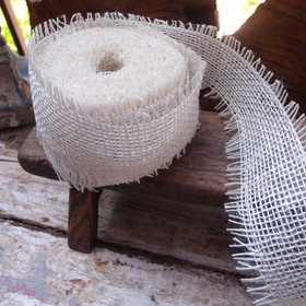 "2.5"" Off White Burlap Jute Ribbon"